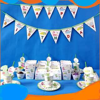 Dinosaur theme party supplies - Happy Birthday Banner / party deco