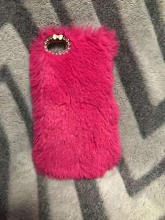 Pink furry casing for iPhone 5S