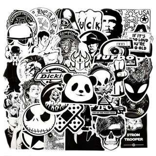 Black White Luggage Stickers