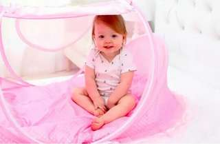Best Quality 3 in1 Foldable Baby Bed Large Size (Pink)