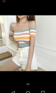 BN retro rainbow striped Off Shoulder Top