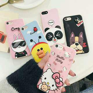 (Soft) Cute 3D Cartoons Full Cover iPhone Case