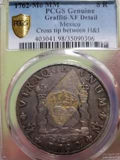 1762 Mexico 8 reales silver coin Mint Mark - Mo PCGS GRADED