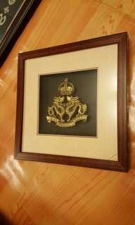 97前皇家香港軍團立體浮雕章連掛牆相架