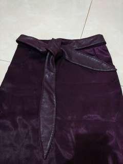 Purple bodycon satin skirt
