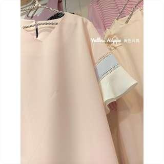 🚚 ✈(正韓現貨實拍)甜甜的糖果色調__三色袖V領純色雪紡上衣