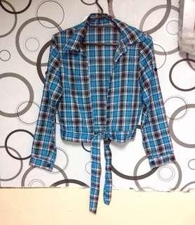 Blue Plaid Long Sleeved Top