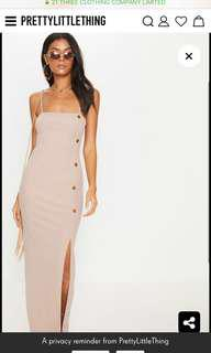 Prettylittlething maxi dress in Nude