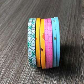 [INSTOCKS] 3mm wide 5m High Quality Washi, Masking Colored Tape [Blue, Pink, Yellow, Patterned]