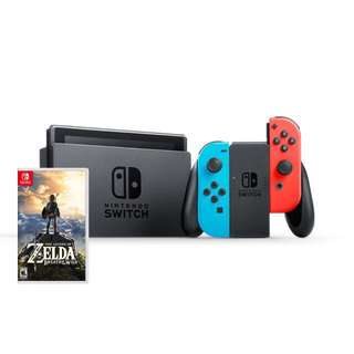 🚚 SALE BNIB LOCAL SET Nintendo Switch Console Neon + Zelda BOTW Game Bundle