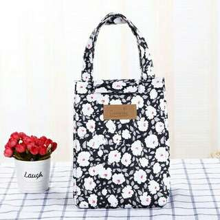 Thermal Cooler Lunch box bag ( black flower)