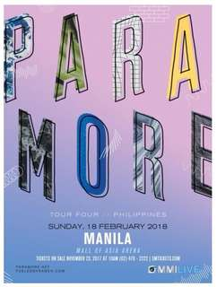 Paramore Concert in Manila - 2 Gen Ad and 1 Upper Box Ticket - August 23