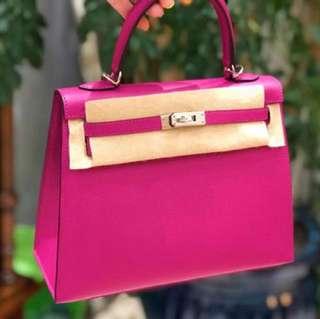 全新C刻🔥Hermes Kelly 25 L3玫紫色 epsom皮,外縫 C刻 現貨好價💕