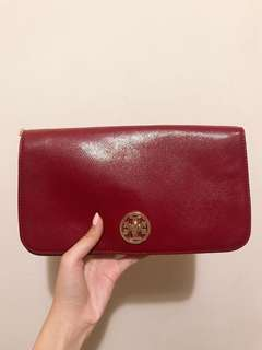 Tory Burch Clutch handbag red 100%real 95%new (little defects)