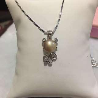 天然淡水珍珠925純銀金銅異色金魚吊墜
