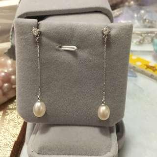 天然淡水珍珠s925吊墜耳環