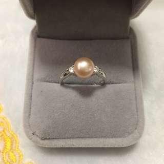 天然淡水珍珠s925鋯石戒指