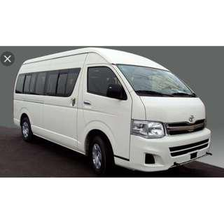 Mini Bus Service, 13 seaters van with driver - avail for hourly / day booking in Singapore .