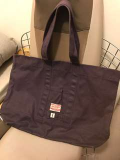 Red clouds purple color waxed canvas tote bag, large size 2