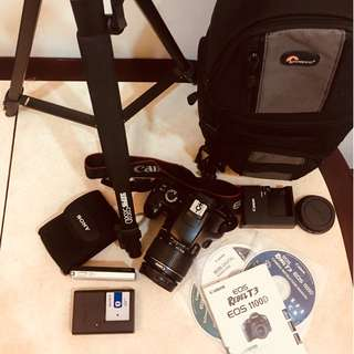 Canon EOS Rebel T3 + 18-55mm Lens + Backpack + Tripod + Sony Cybershot!