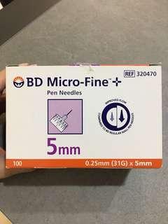 BD micro-fine pen needles 0.25mm (31g) x 5mm