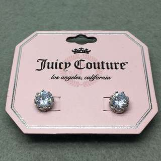 Juicy Couture Sample 925 Pin Earrings 銀色純銀針皇冠閃石耳環