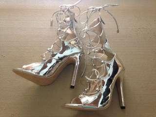 Silver gladiator heels