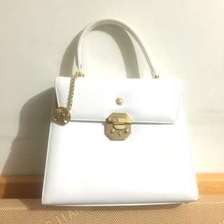 中古 Versace white flap bag vintage 款 太陽神手挽袋