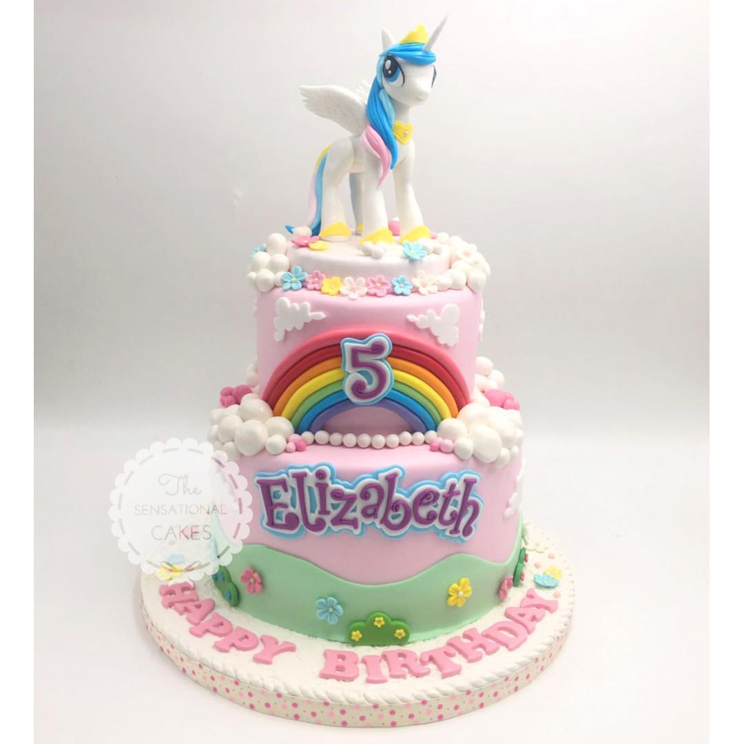 Remarkable 2 Tier Wing Pony Rainbow And Pink Theme Children Girl Birthday Personalised Birthday Cards Veneteletsinfo