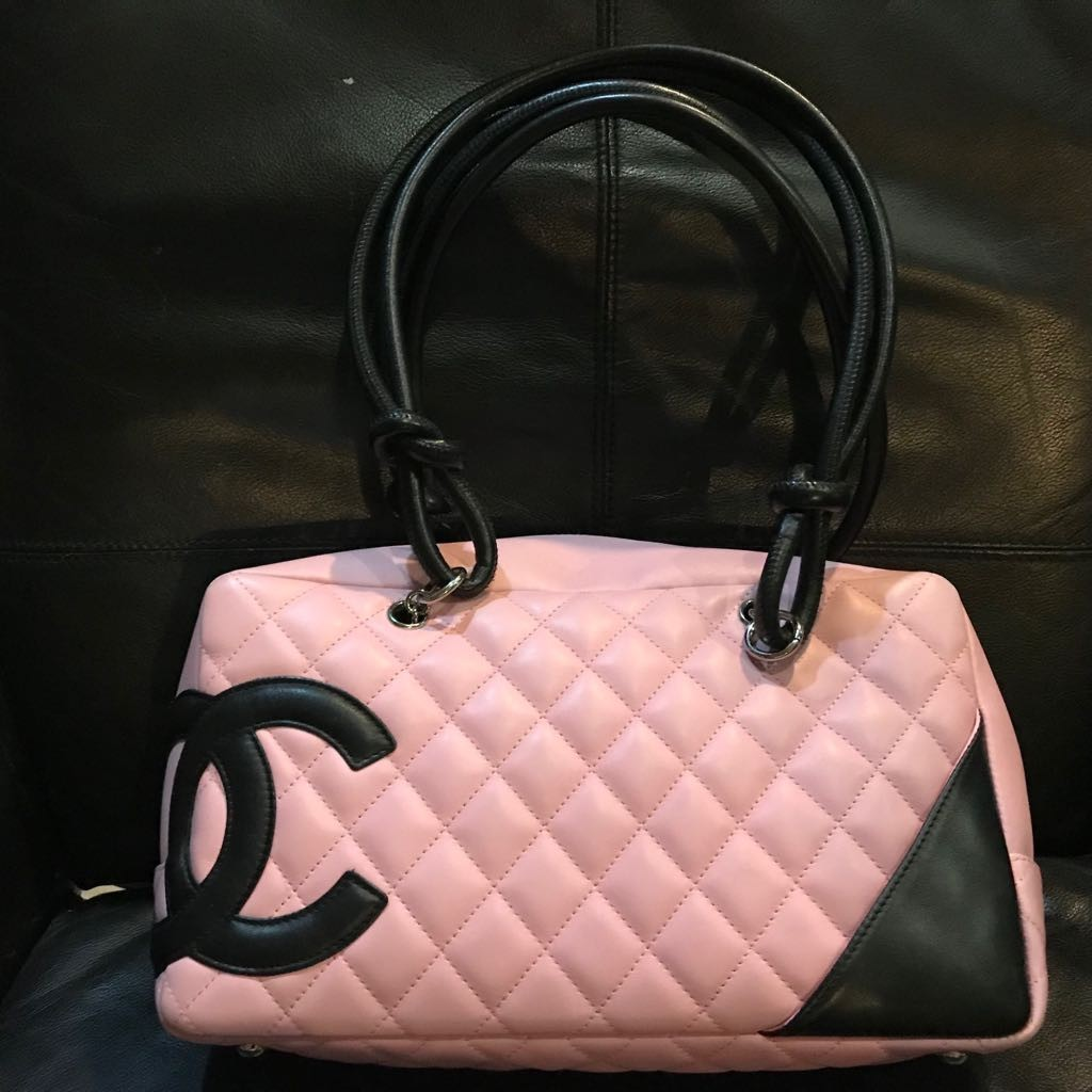 3656271b3890 Authentic Chanel Pink / Black Cambon Leather Tote Bag, Luxury, Bags ...