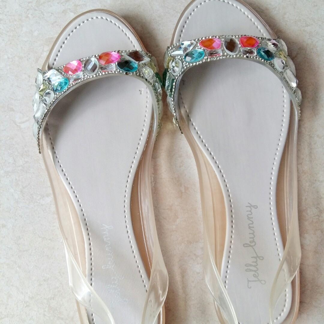 41f68270345d CNY  (AUTHENTIC) Jelly Bunny Peach Rhinestone Jelly Sandal Size 37 ...