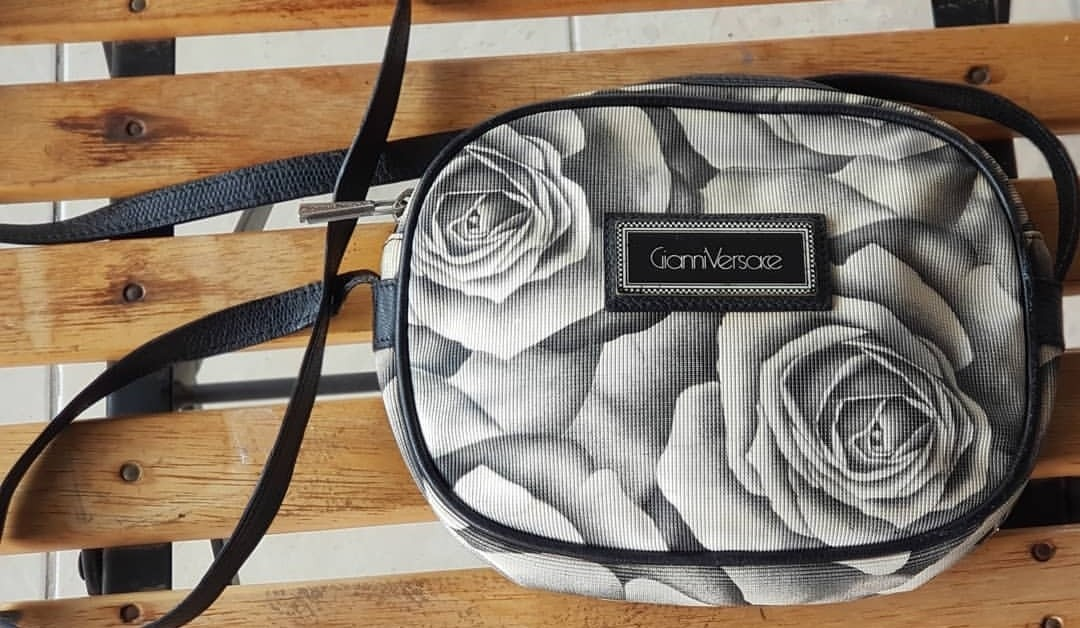 a7c1de9a03 Authentic Vintage Gianni Versace Rose Print Black and White Canvas ...