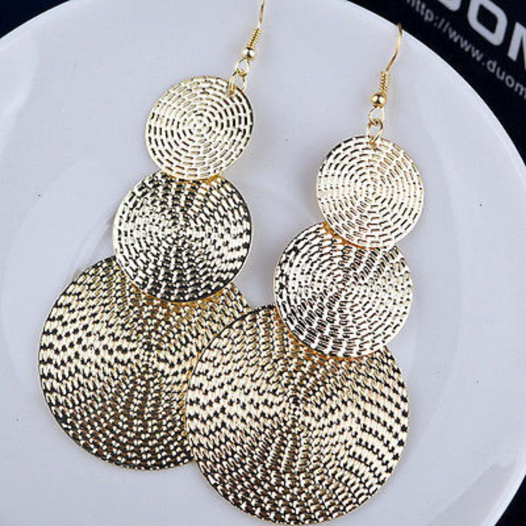 BN 1 pair Fashion Elegant Long Round Drop Ear Dangle Earrings 3 colours [MJN96]