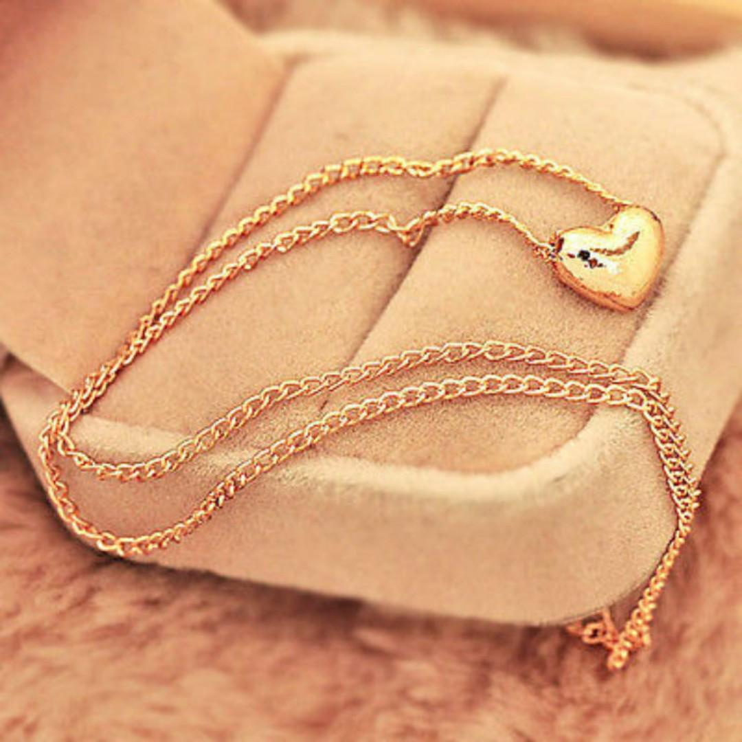 BN Womens Pretty Gold Plated Heart Chain Pendant Necklace [MJN73]