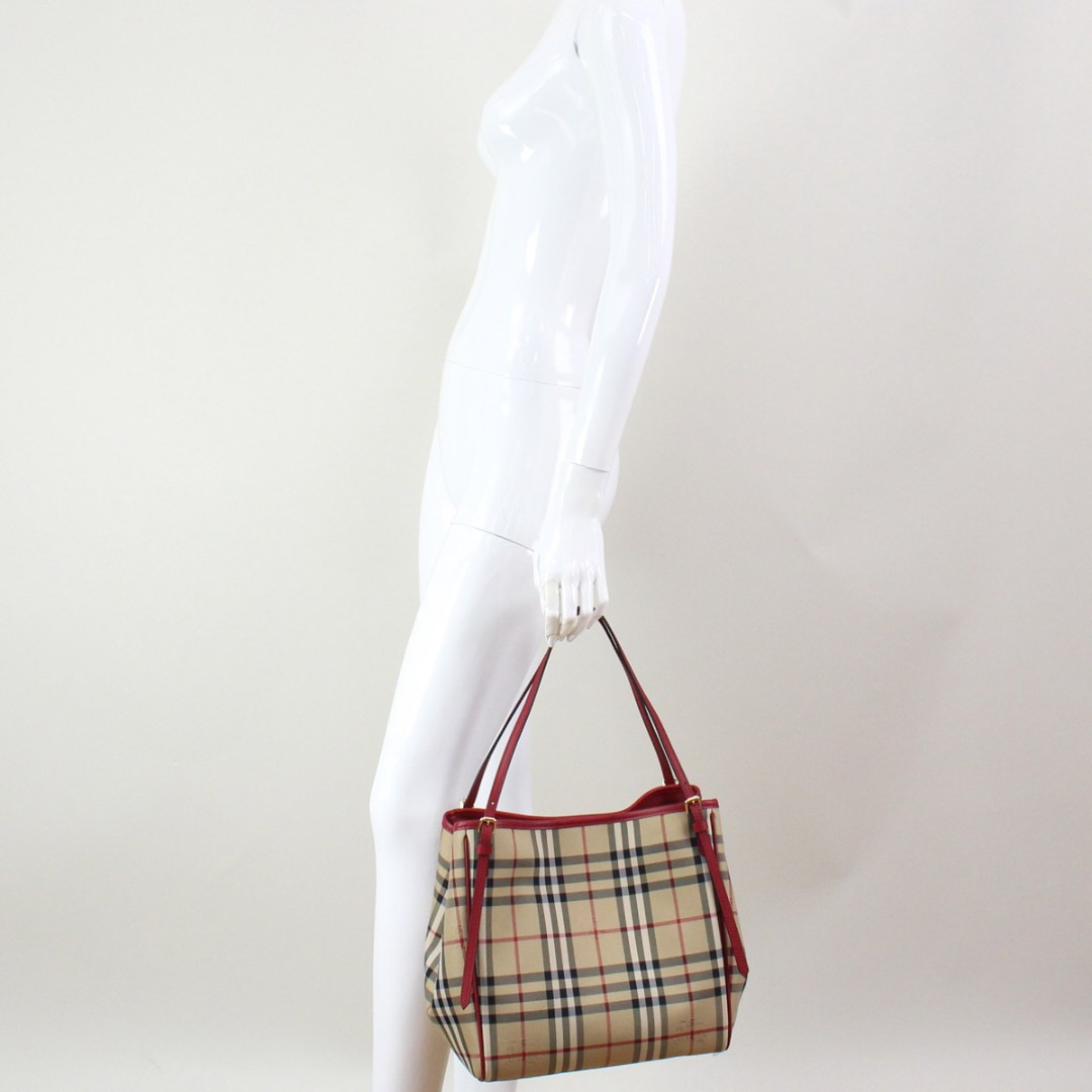 4b4cbef79aa4 Burberry SM CANTER check tote bag 4028923 HONEY PARADE RED