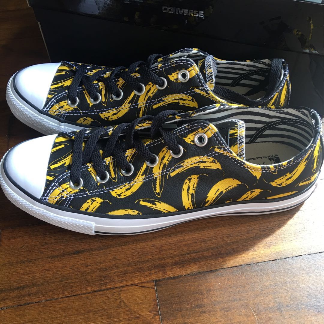 009f4a10dbb CONVERSE CHUCK TAYLOR ALL STAR ANDY WARHOL BANANA PRINT BLACK WHITE FREESIA  Authentic Brand New with Box