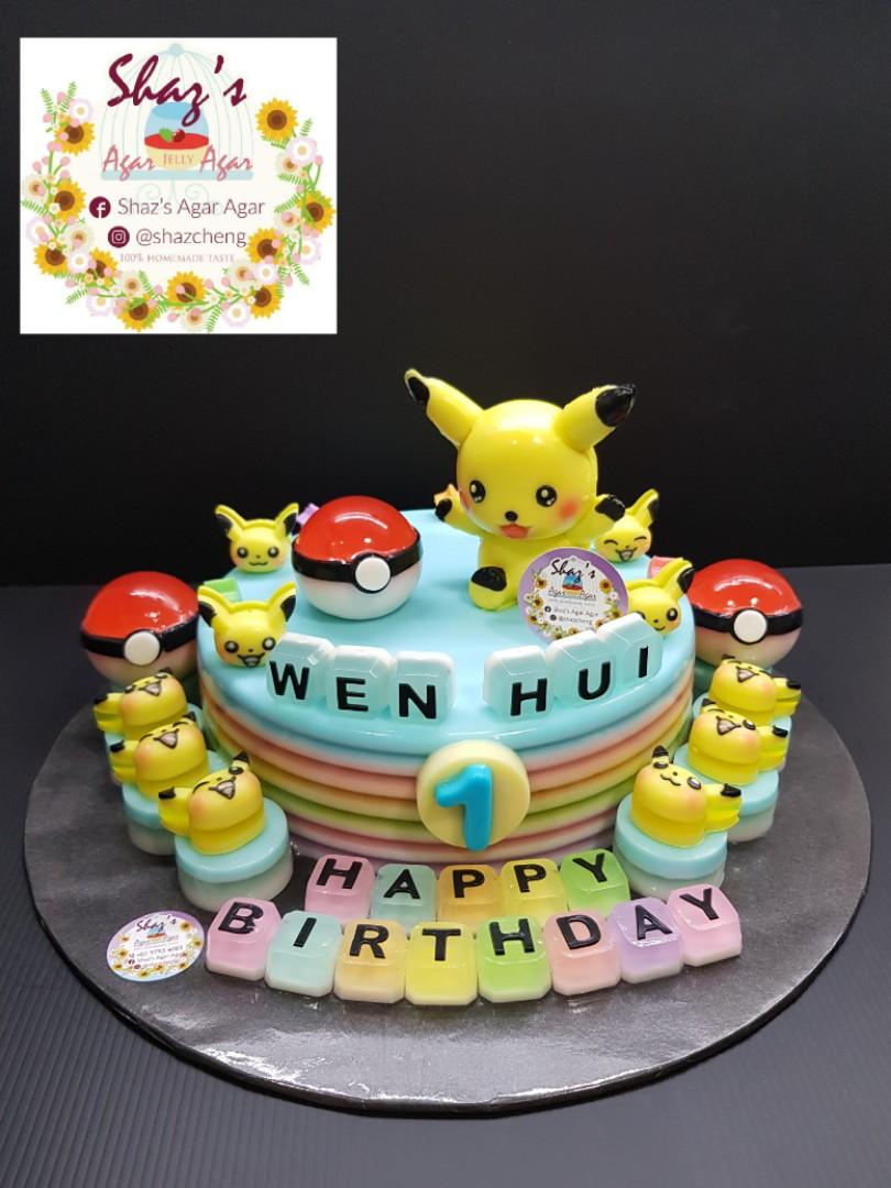 Customised Pikachu Pokemon Theme Jelly Agar Birthday Cake Pm For
