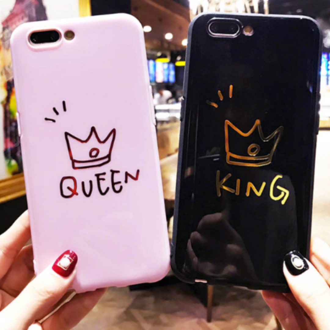 competitive price 44f51 2f161 [FREE DELIVERY] (iPhone) King Queen Couple Phone Cases