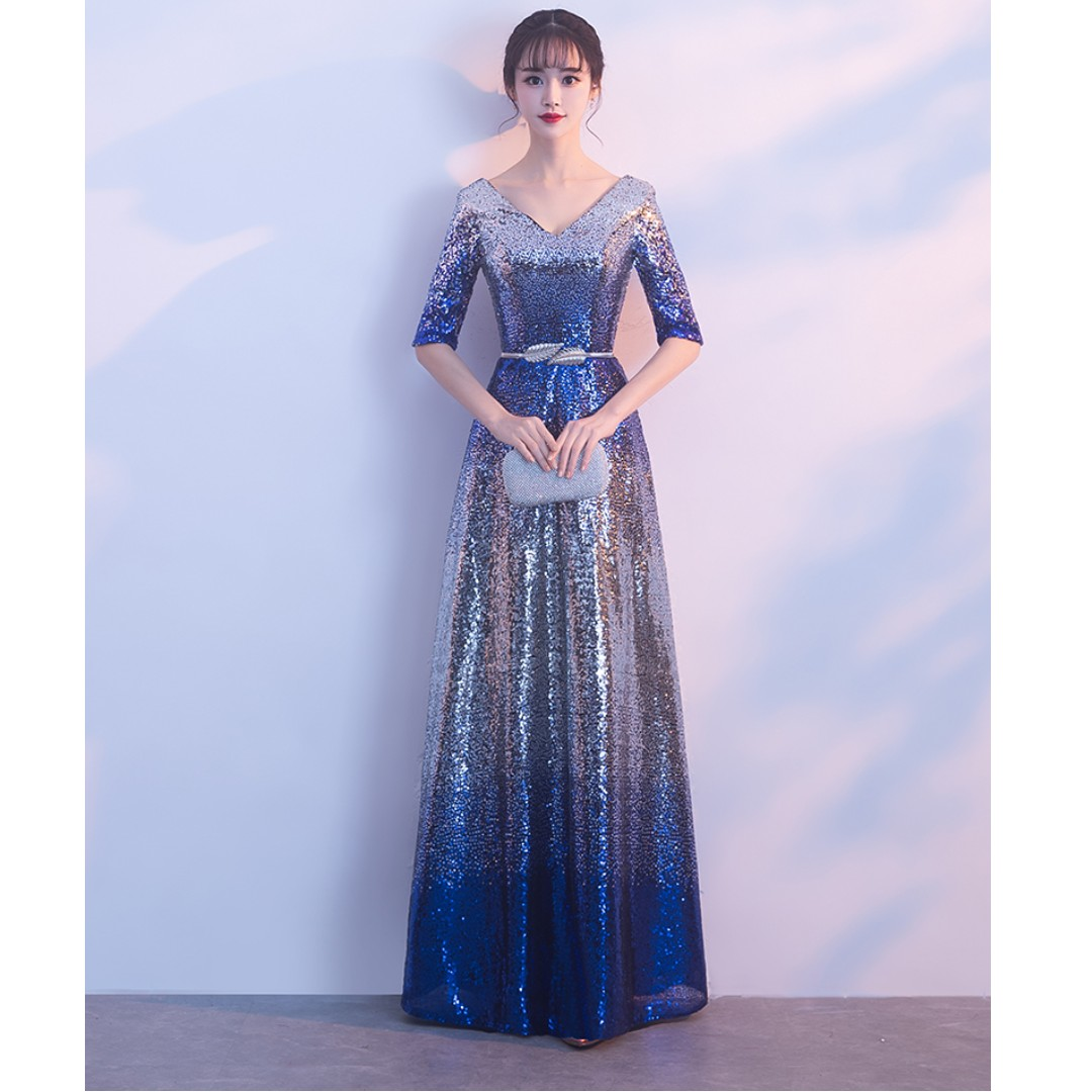 Gown Collection - Shining Silver Blue Beads Mid Length Sleeves Event ...