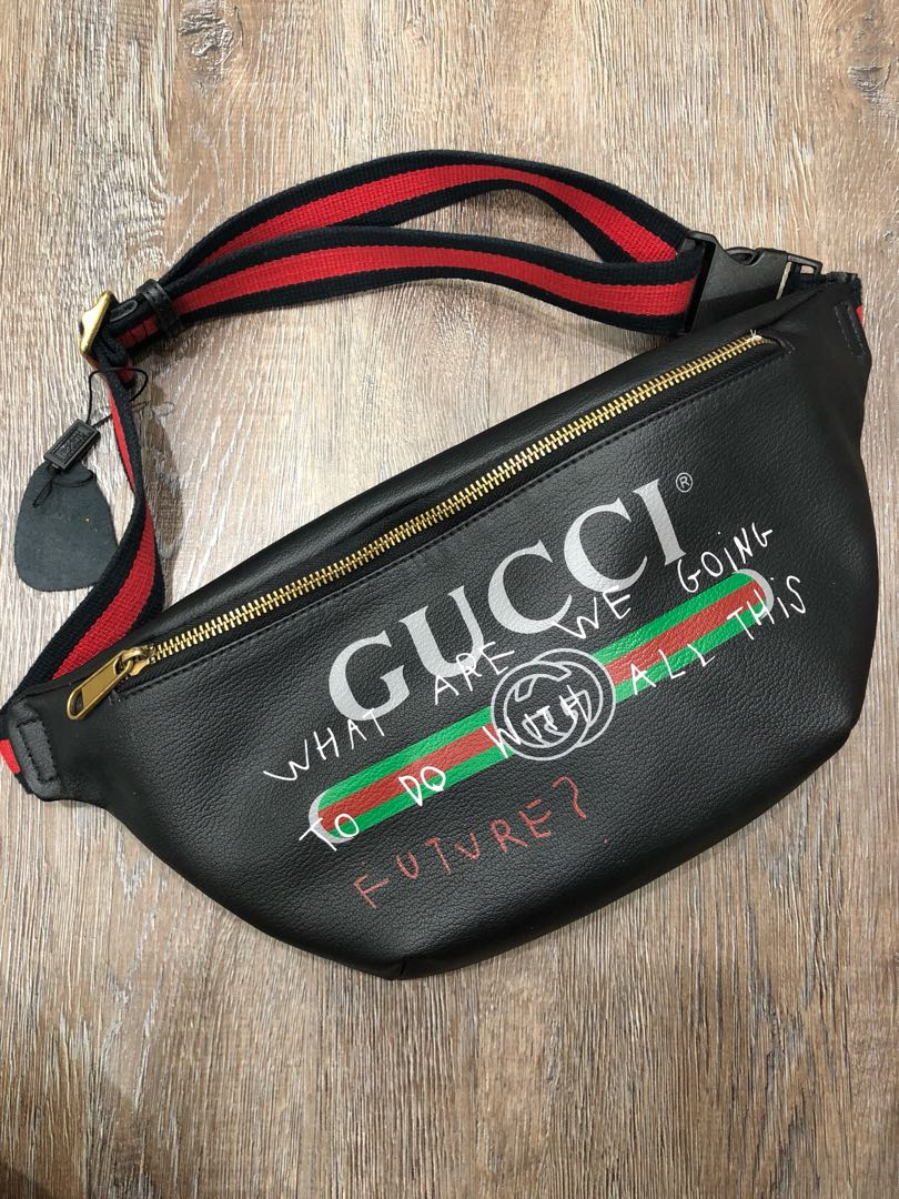 4bbd3e7631bd00 Gucci Print Leather Belt Bag, Luxury, Bags & Wallets on Carousell