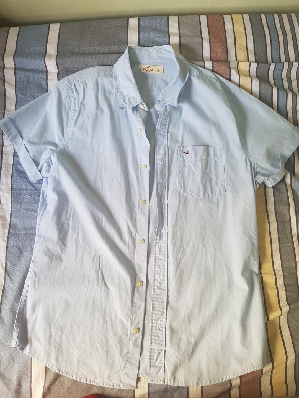 5d97ee2d Hollister Sky Blue Short Sleeve Stretch Oxford Shirt, Men's Fashion ...
