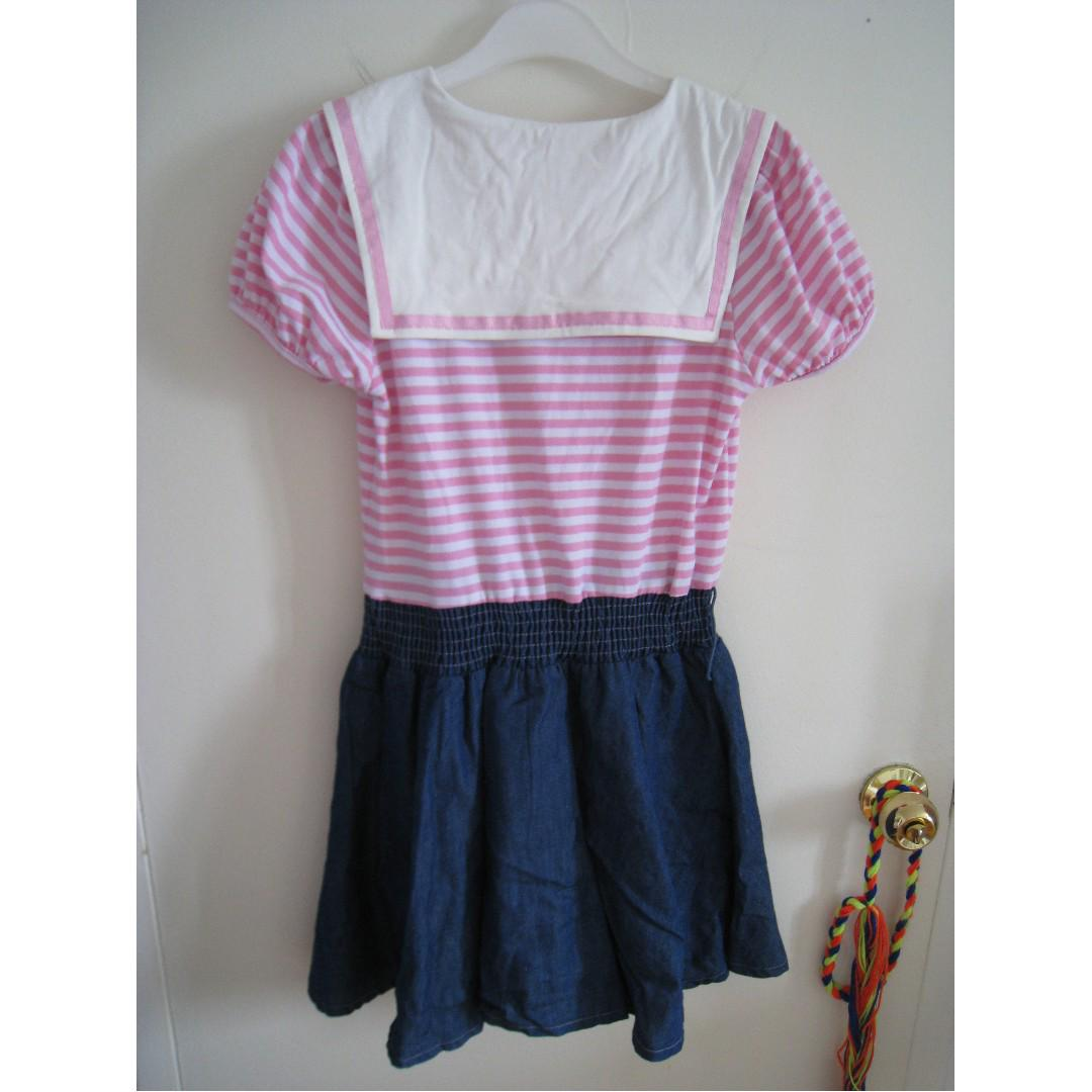 Japanese Ruvap Sailor Marine Style jean dress white and pink striped