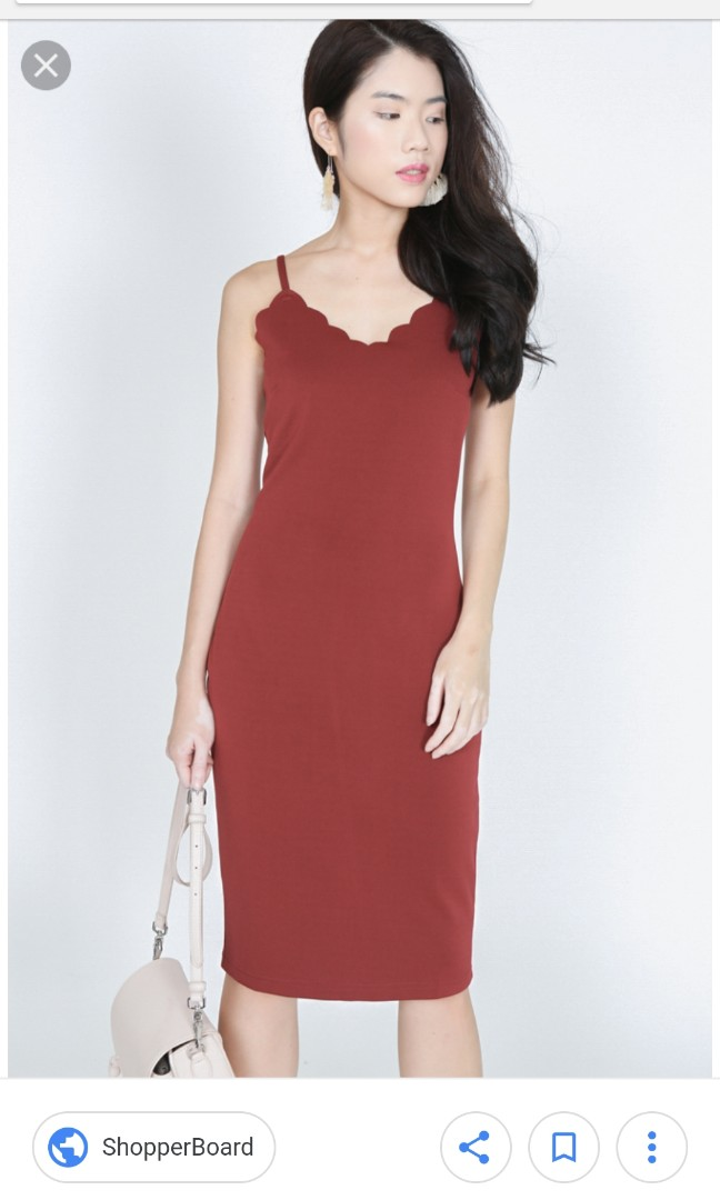 2a4a581faa0 Mds eilsa scallop dress in red