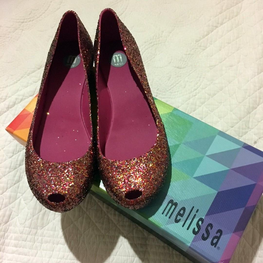 8cbe8d825064 Melissa Red Pink glitter shoes
