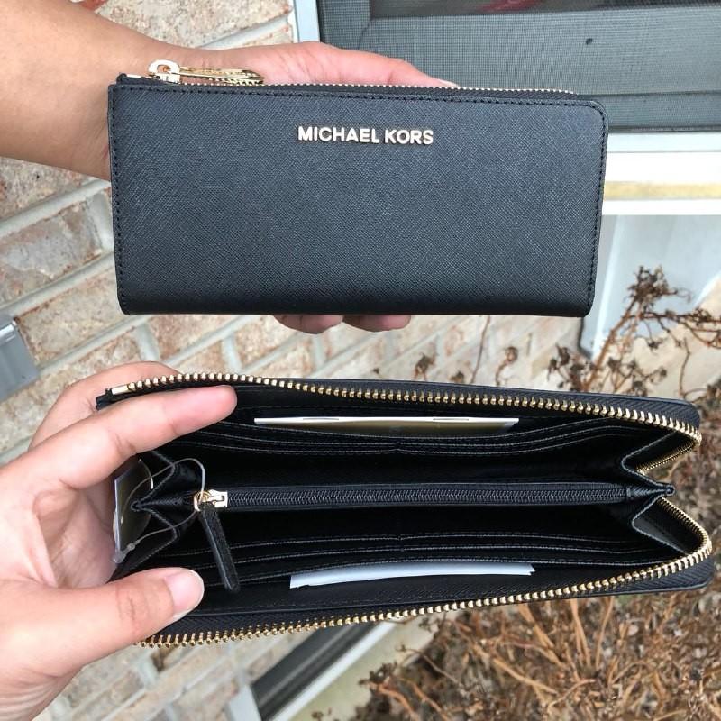 21f2d885ee27 Michael Kors jet set travel large three quarter zip wallet, Women's ...