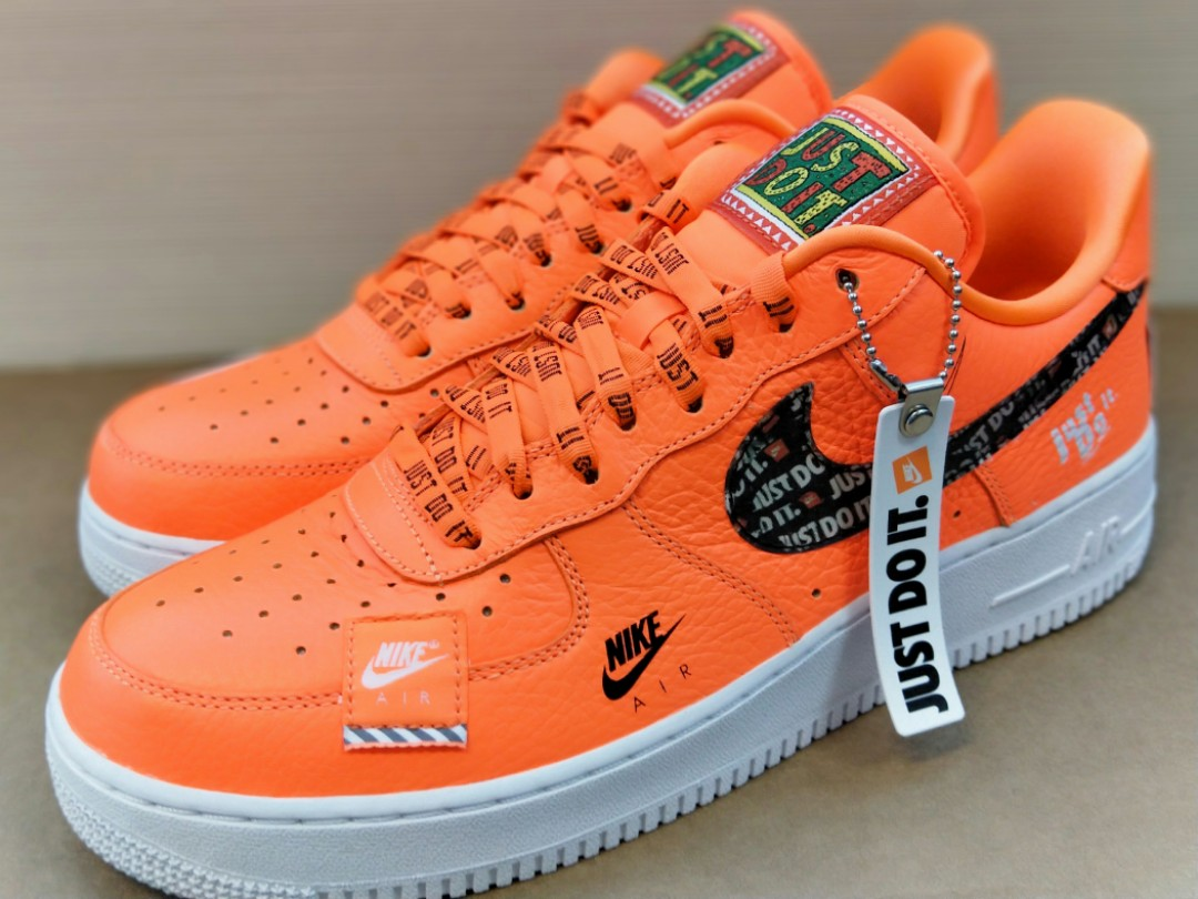 low priced 21590 f55e9 Nike Air Force 1  07 Low Premium JDI Just Do It Total Orange, Men s  Fashion, Footwear, Sneakers on Carousell