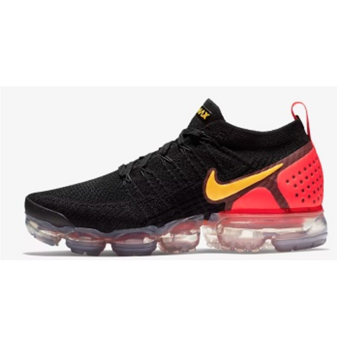 80b6529621 Nike Air VaporMax Flyknit 2 (Black/Team Red), Men's Fashion, Footwear,  Sneakers on Carousell