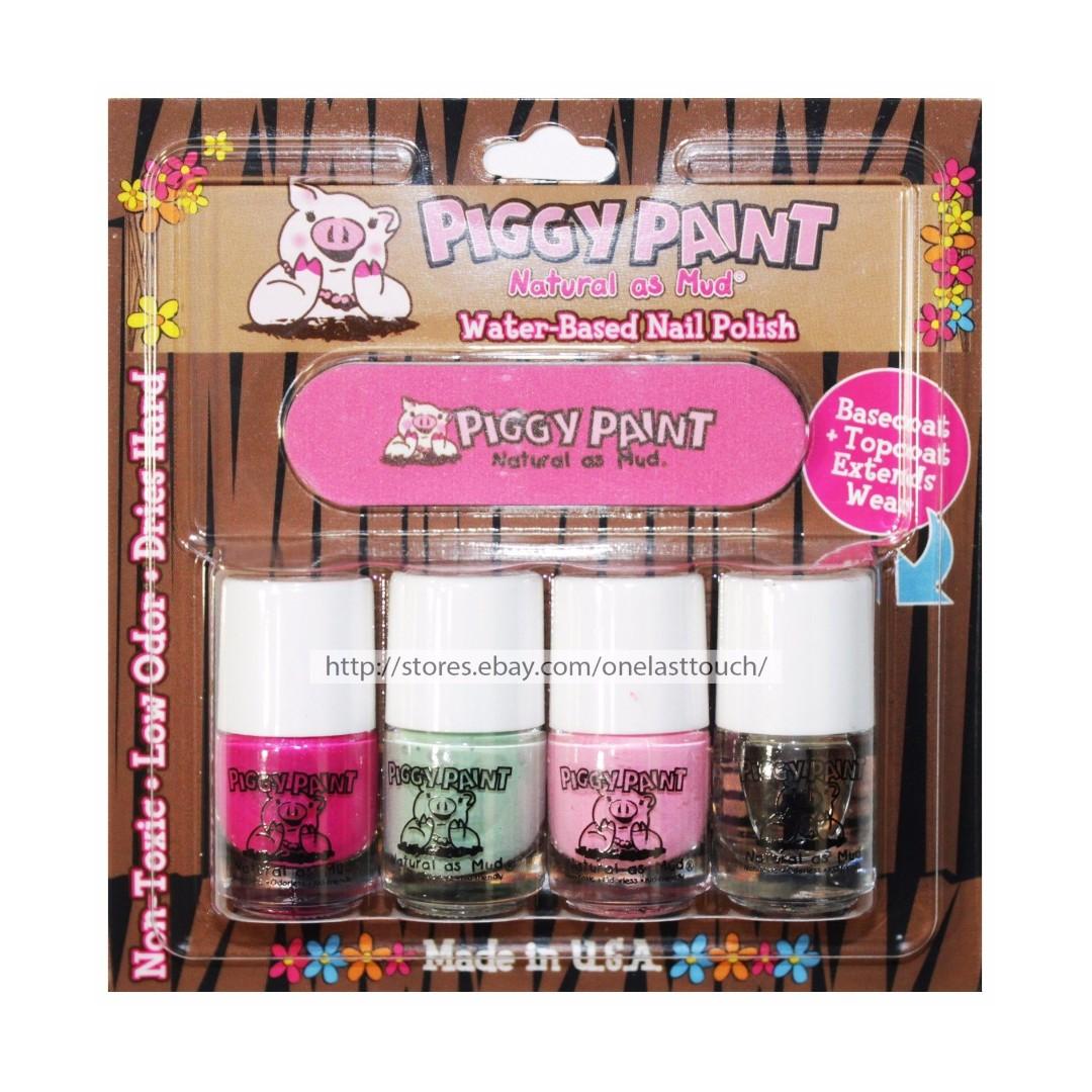 Piggy Paint Water-Based Non-toxic Natural Nail Polish and File Kit ...