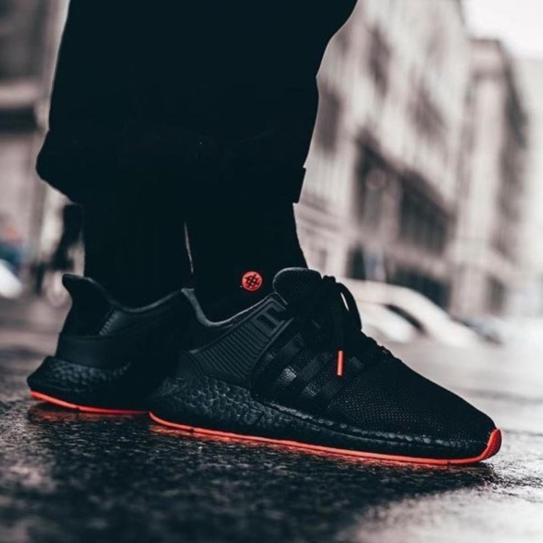 buy popular e3b83 c7c97 PO) Adidas Mens EQT Support 93/17 Black Red, Men's Fashion ...