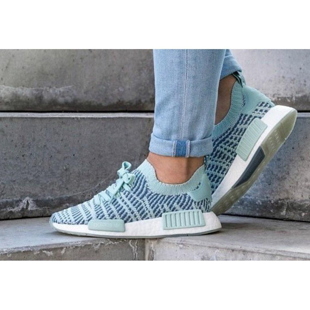 cheap for discount 751df 2e71c PO) Adidas Womens NMD R1 Primeknit STLT Coral Blue, Women's ...